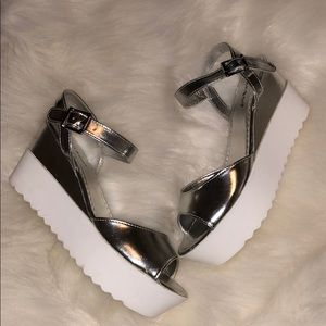 Metallic silver platform sandals